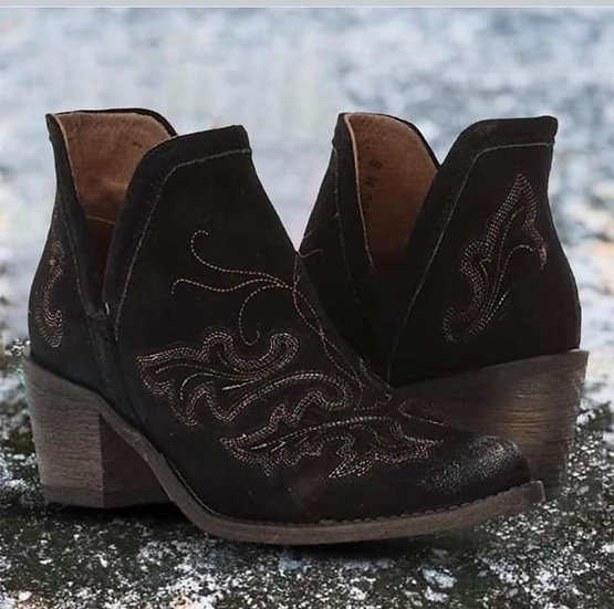 Black Western Style Bootie