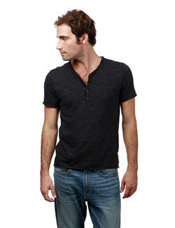 Lucky Brand - Raw Edge Y-Neck Henley Heather Charcoal