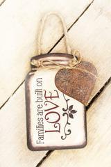 """""""Love"""" Tin Mason Jar with Heart Wall Hanger"""