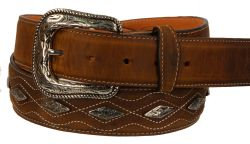 B38 - RockinLeather Crazy Tan Cowhide Leather Belt