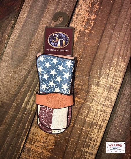 3D Leather Crackle USA Flag Medium Knife Holder with Belt loop on Back