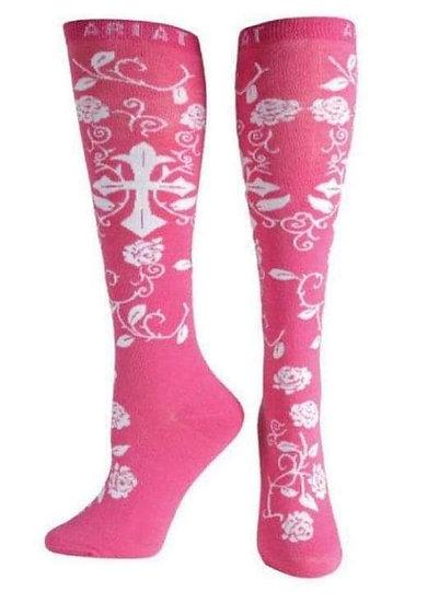 Ariat Ladies Pink Cross Knee High Socks