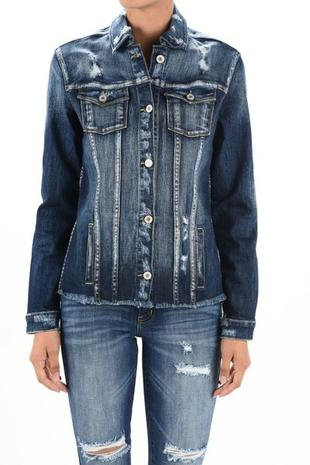 KanCan Dark Stone Wash Distressed Jacket
