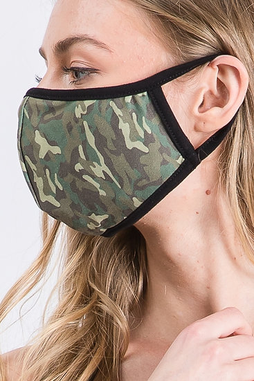 Camo Protective Face Mask with Filter Pocket