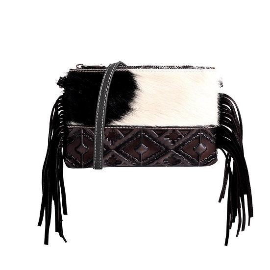 Montana West USA Hair On Cowhide Leather Fringe Crossbody Clutch