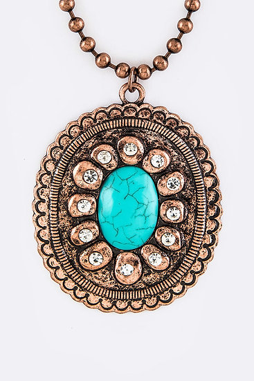Turquoise Concho Pendant Necklace Copper