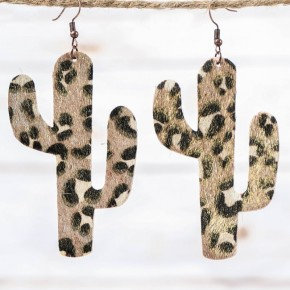 Large Leopard Print Cactus with Gold Shimmer Earrings, Copper