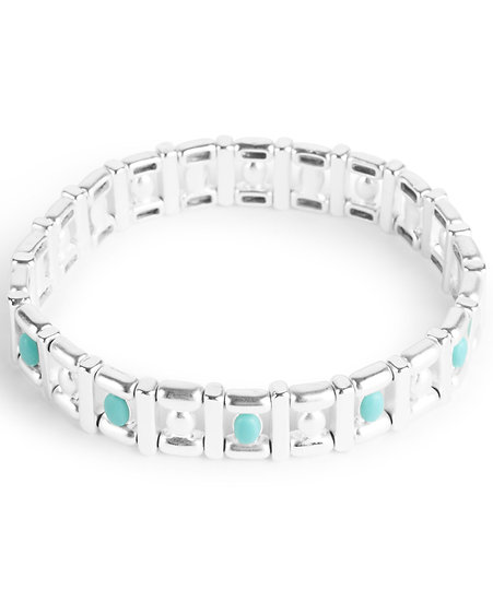 Lucky Brand Silver Bracelet with Turquoise Stud Accents
