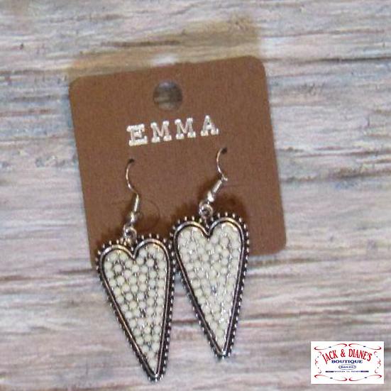 Emma White Beads Heart Shape Earrings