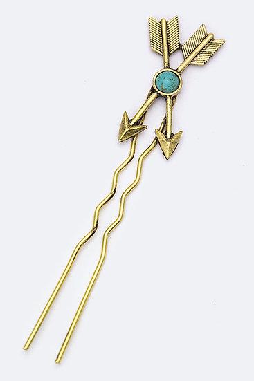 Women's Gold Arrows Hair Pin