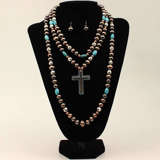 Western Layered Beaded Silver Strike Necklace Set Turquoise
