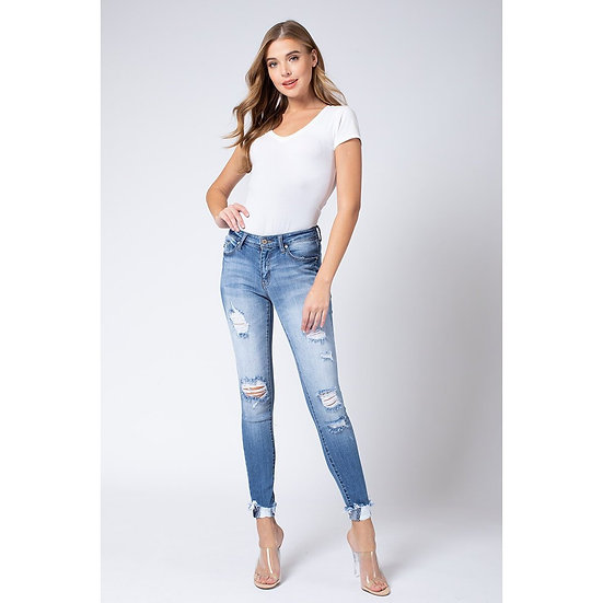 KanCan Jeans Medium Wash Mid Rise Distressed Ripped Skinny Jean