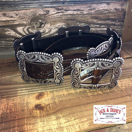 Nocona Tan and Brown Ostrich with Silver Concho and Braided Detail