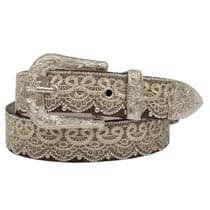 Angel Ranch Tan Lace & Bead Overlay Silver Tone Studs Belt