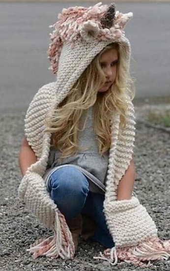 Unicorn Crochet Scarf with Hoodie and Gloves