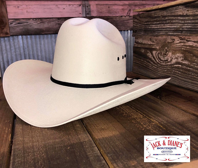 Western Express White Stray Hat with black hat band