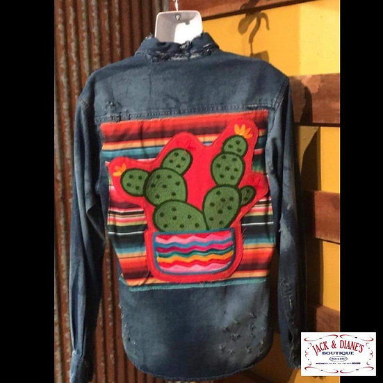 Distressed Long Sleeve Denim with A Cactus Embroidered Patch on Back