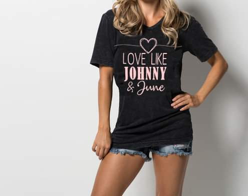 Love Like Johnny & June Black Short Sleeve V Neck Tee