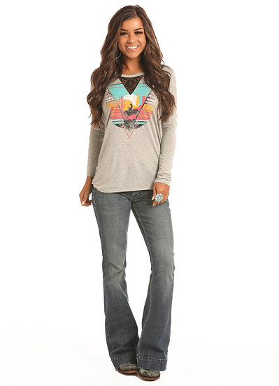 ROCK & ROLL COWGIRL COLORFUL RIDER LONG SLEEVE