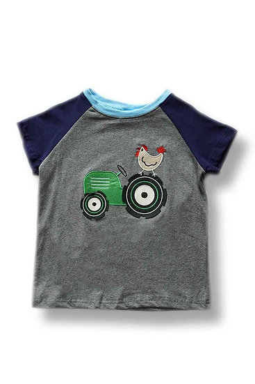 Boys Short Sleeve top with a Green tractor and a Rooster