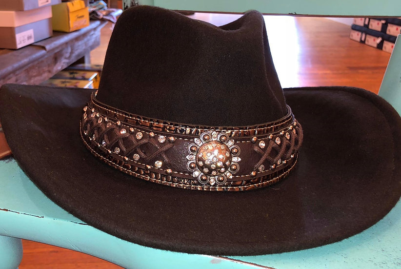 Montana West Cowgirl Collection Brown Wool Coffee Hat with Sun Burst Concho