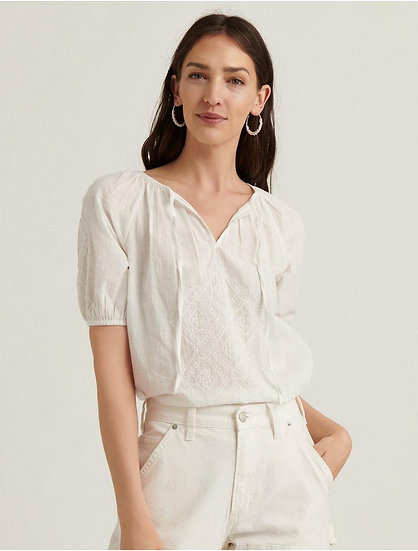 Lucky Brand Embroidered Short Sleeve Peasant