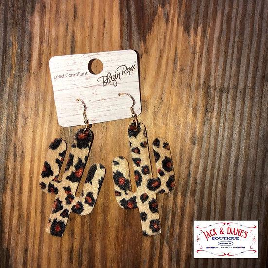 Blazin Roxx Leopard Print Cactus Earrings