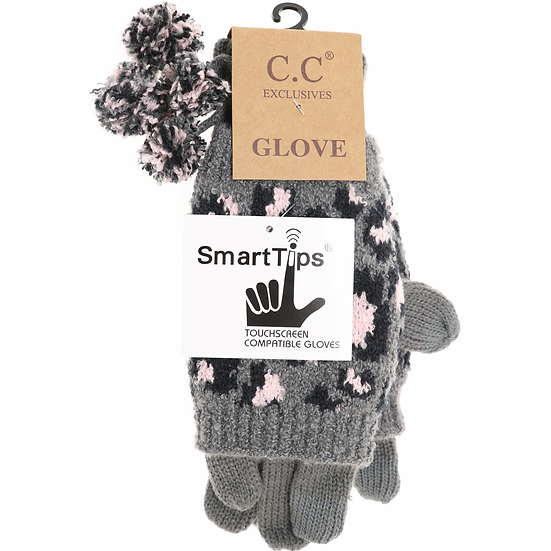 C.C Leopard Print Cuffed Gloves with Pom