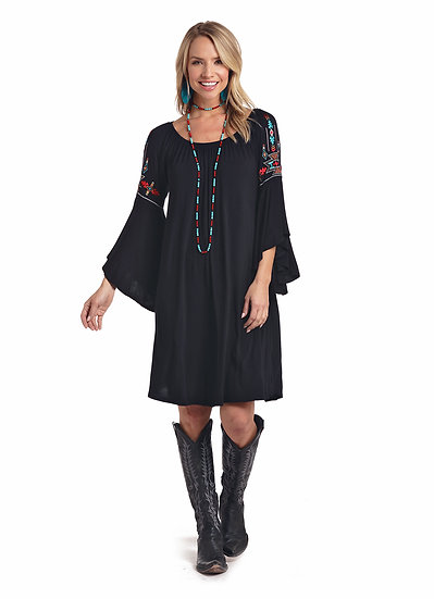 Rock & Roll Cowgirl Black Dress trumpet Sleeve Aztec Embroidery