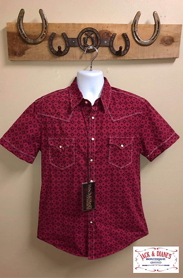 Rock & Roll Pearl Snap Short Sleeve Red and Black Shirt