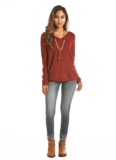ROCK & ROLL COWGIRL JUNIORS PULLOVER SWEATER V-NECK AND BACK LACE-UP DETAIL