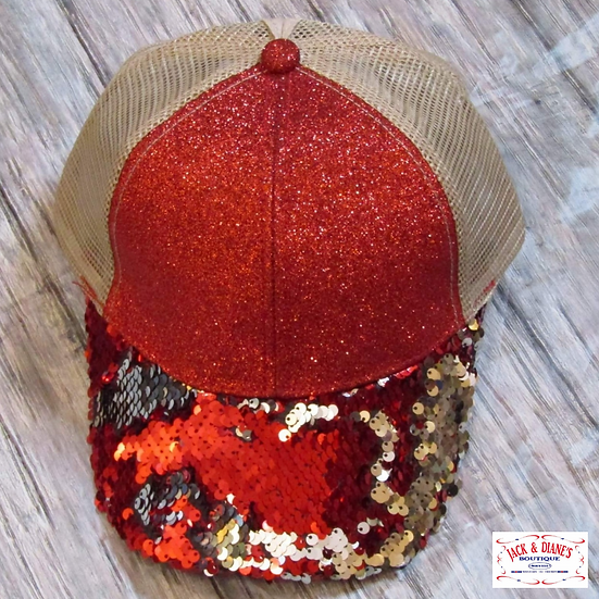 Red and Gold Sequin High Ponytail Cap