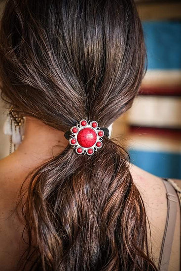 L&B Red Stone Flower Concho Hair Tie