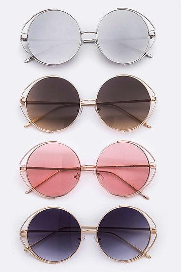 Retro Pop Oversized Wire Round Sunglasses