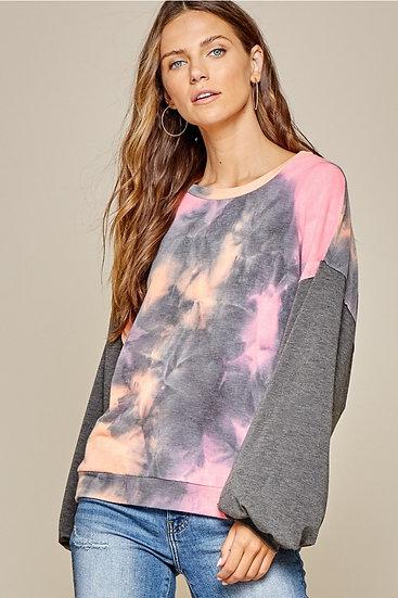 Andree' By Unit Tie Dye Long Sleeve Sweater