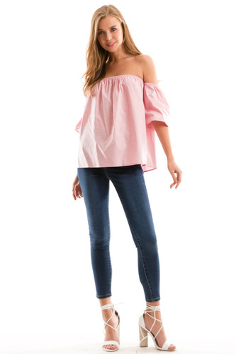 b82f9556cfb314 Love In Pink Off the Shoulder Top