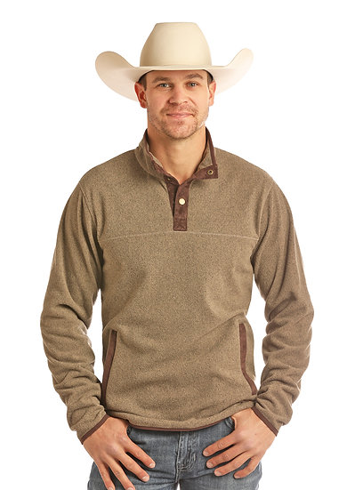 POWDER RIVER OUTFITTERS MEN'S PULLOVER SOLID HEATHER FLEECE BUTTON HENLEY