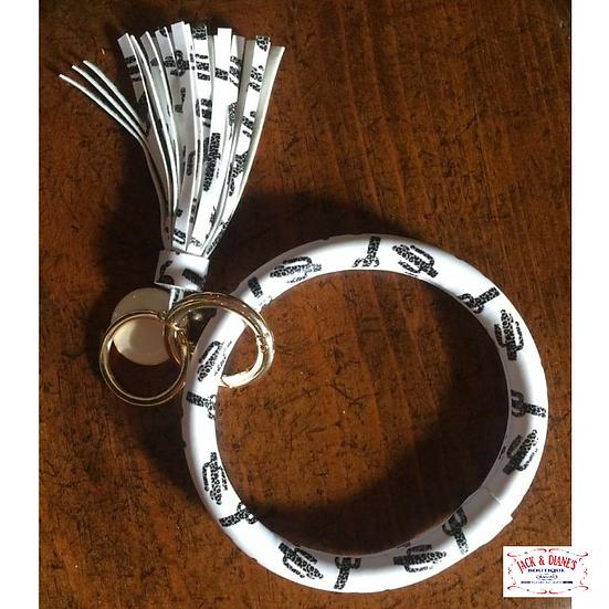 Keyring Bracelet with Fringe Black & White Cactus