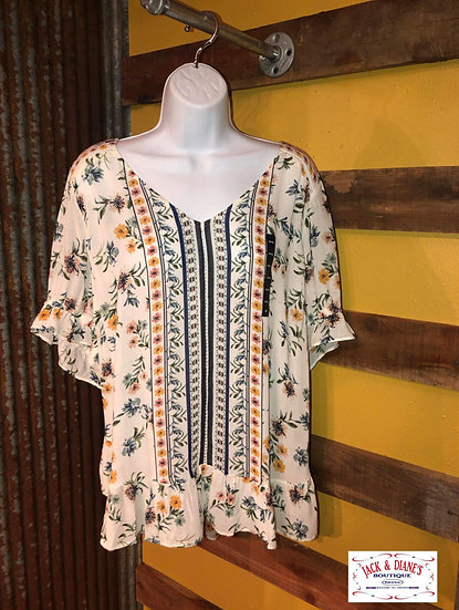 Lucky Brand Border Print Top with ruffles