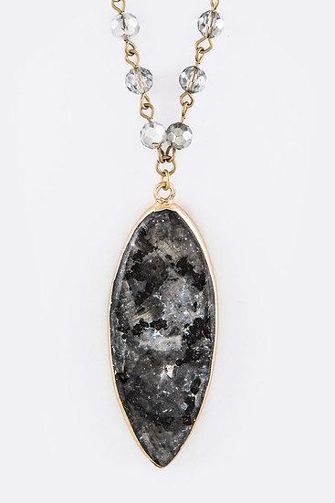Grey And Black Marbled Leaf Shaped Necklace