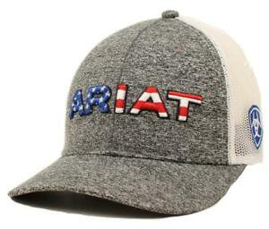 Ariat Mens Hat Baseball Cap Mesh Snap Embroidery USA Flag Logo Grey