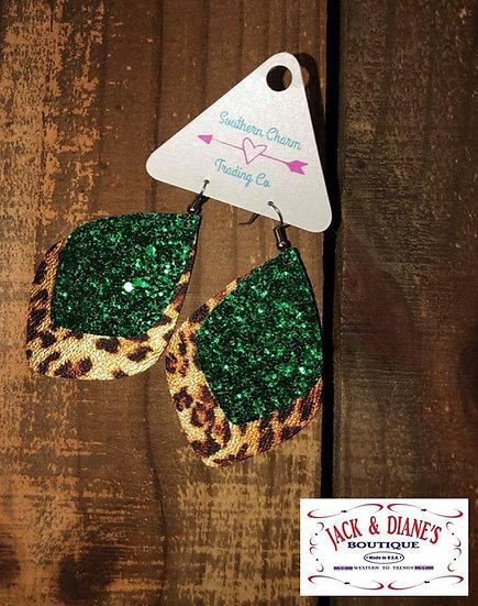 Green Glitter & Metallic Leopard Layered Dangles Earrings