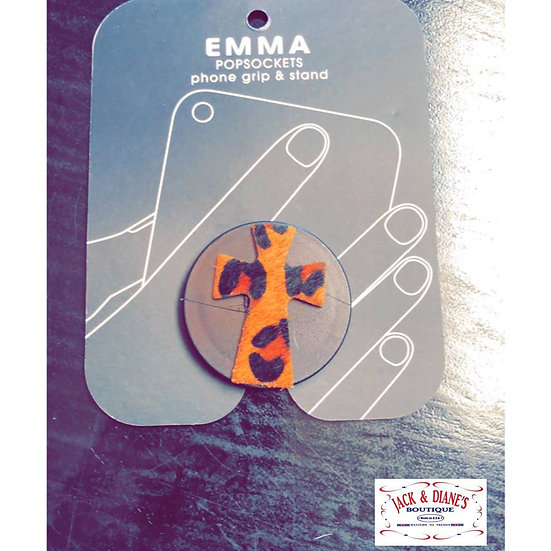 Emma POPSOCKETS Phone Grip and Stand Leopard Print Cross