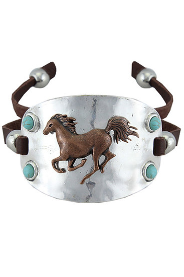 Silver Cuff With Bronze Horse Adjustable Strap