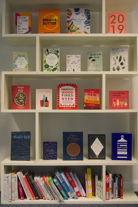 Book shelves in the office.