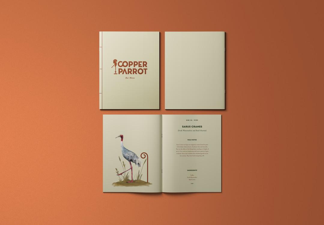 Copper Parrot's drinks menu
