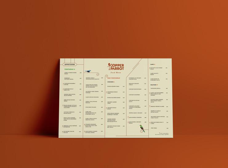 Food menu for Copper Parrot