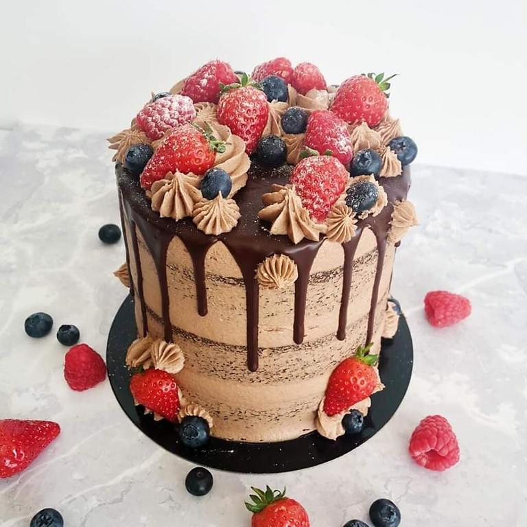 Chocolade en fruit drip taart