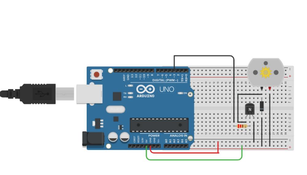 Circuit diagram-interfacing DC motor with Arduino