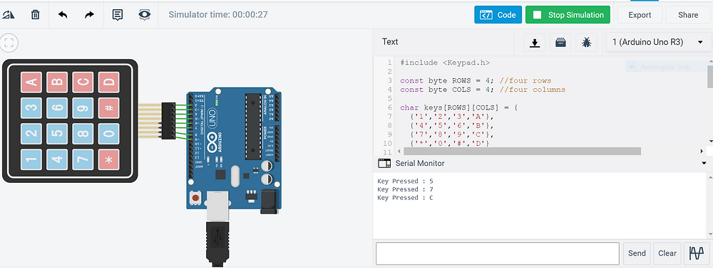Image showing the output - interfacing keypad with Arduino